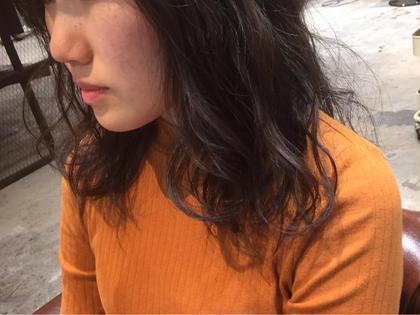 カラー セミロング ブルーアッシュ‼️‼️ 暗くても透明感があります✨