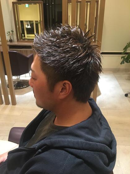 ツーブロックの入ったショートスタイル‼︎ 前髪上げるソフトモヒカンスタイルを切ってみました‼︎ aries富谷店所属・菖蒲翼のスタイル