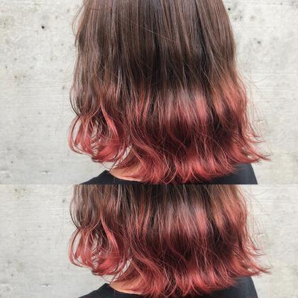 その他 カラー ミディアム 毛先ブリーチ後カラーで赤髪グラデーションカラーに🍎