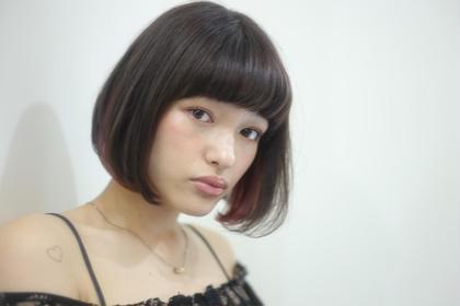 イノセントボブ ボブのピンクパープルのインナーカラーが一番の引き立て役✨ シンプルにワンカールで可愛さUP♫ kith,所属・本田寿雄のスタイル