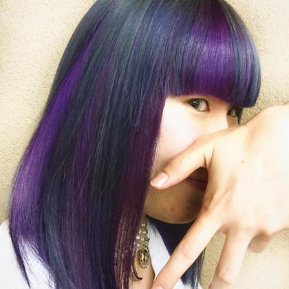 カラー ショート セミロング ヘアアレンジ ミディアム violet+black