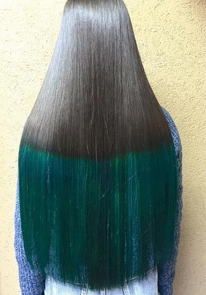 カラー ショート セミロング パーマ ヘアアレンジ ミディアム メンズ ロング ブラックとグリーン