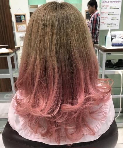 毛先に可愛いピンク乗せてみました(^^)
