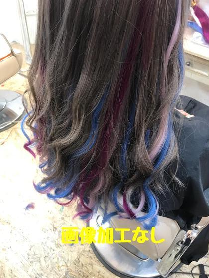 その他 カラー セミロング グレーにエクステで紫、ピュアパープル、ブルーをON