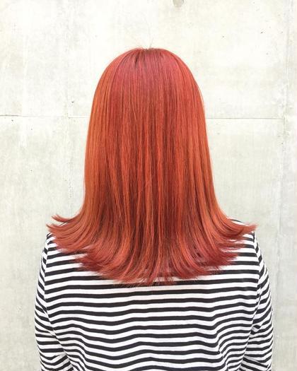 カラー セミロング オレンジカラー!! 韓国系ヘアカラー!!