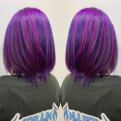 紫ベースに青のハイライト🔥