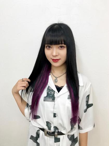 innercolor:Purple☆ 地毛の長さに合わせて原色Purpleを20本インナーカラーでつけました♪