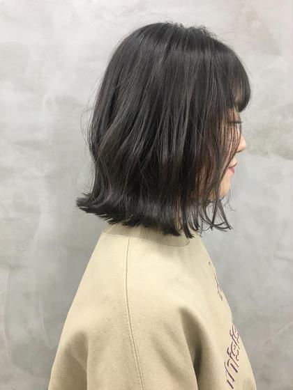 カラー 地毛風カラーで透明感ある暗髪へ❤︎❤︎ #切りっぱなしボブ#外国人風カラー