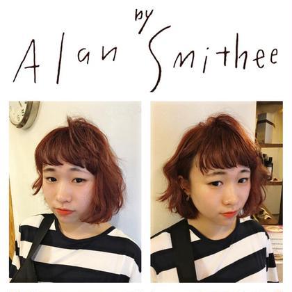 カラー ショート パーマ 前髪カット×トリプルカラー⭐︎  黒染め+カラバターをされてて、なかなか抜けない方に脱染剤からの脱色剤からのオンカラー⭐︎ からの前髪を透け感を出すことによって、柔らかさ演出⭐︎