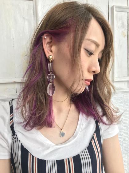 イヤリングカラープラムピンク CHERRY COKE ubu所属・けんけんのスタイル