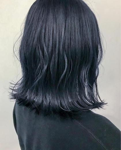カラー  ▽暗髪ネイビーブラック▽   ブリーチ1〜3回必要です!!  #ネイビーブラック #ブルーブラック #イルミナカラー