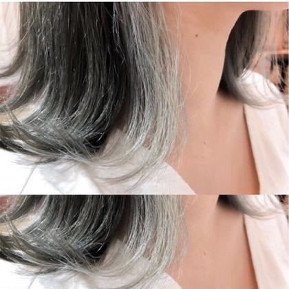 お客様スナップ☆  グラデーション  グレージュ×ホワイトアッシュ♣️ YUTAROのミディアムのヘアスタイル