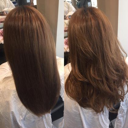 コテ巻仕上げ(^O^)大人な女性をイメージ!毛先がパサついていたのでワックスに少量トリートメントを入れツヤ感をだしました! 美容室ISA所属・東悠磨のスタイル