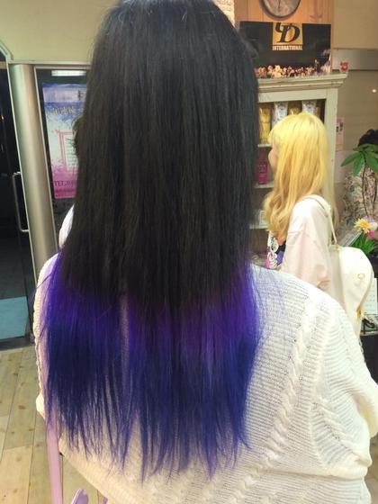 ロング グラデーションの中にも紫からの青の繊細なセンス光るカラーです!! 同じ色だけのグラデーションじゃ飽きるのでこういうのも楽しいですよ(*^_^*)