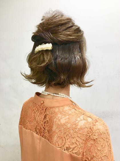 結婚式お呼ばれの方のヘアセットです。 波ウェーブにしてトップにボリュームを出したハーフアップスタイルです。  クアトロ水戸店所属・菊池若葉のスタイル