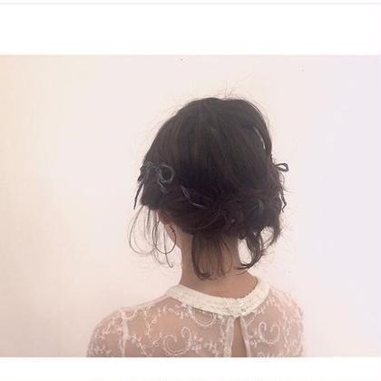 ❤️hair arrange  ❤️ hair set 得意です!  ゆるめルーズなアレンジと たっぷりおくれ毛で後ろ姿も ラヴリーに可愛く。。。   neolive&所属・FujitaMiraiのスタイル