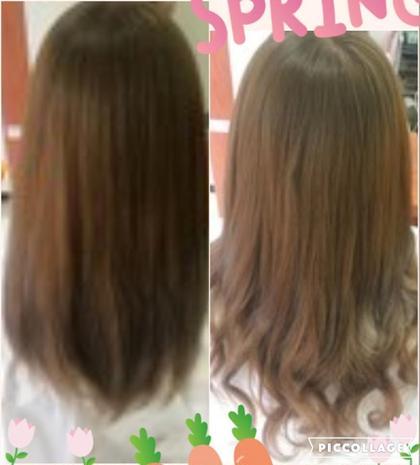 フェミニン☆ふんわりロング★ 地毛は長めで少し重めから更にロングに!!  地毛の毛先を軽く空いて超音波エクステで取り付け♪♪♪ カジュアル感がぬけてフェミニンな印象になりました♪ 明るめのブラウンはロングにしても重たくならず軽やかなイメージです♪ DuoHair心斎橋店のロングのヘアスタイル