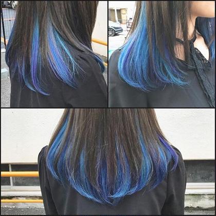 青色のインナーとその中に入ったヴァイオレットのハイライトが綺麗に入りました! HAIR&MAKEEARTH所属・宍戸海斗のスタイル