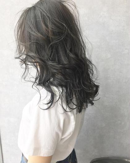 カラー セミロング ブルージュヘアー(^◇^)