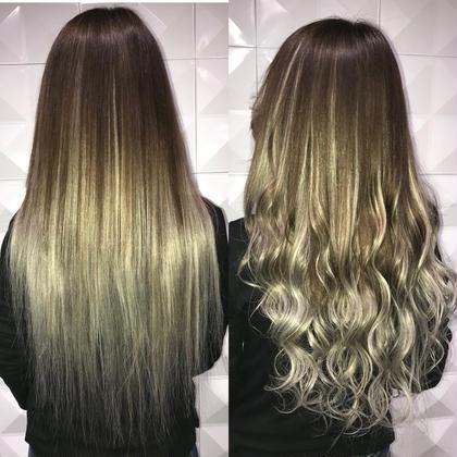 シールエクステ80枚地毛の色からアッシュのとても自然なグラデーション♪  アプリ登録のお客様は仕上げの巻き髪無料サービス♪