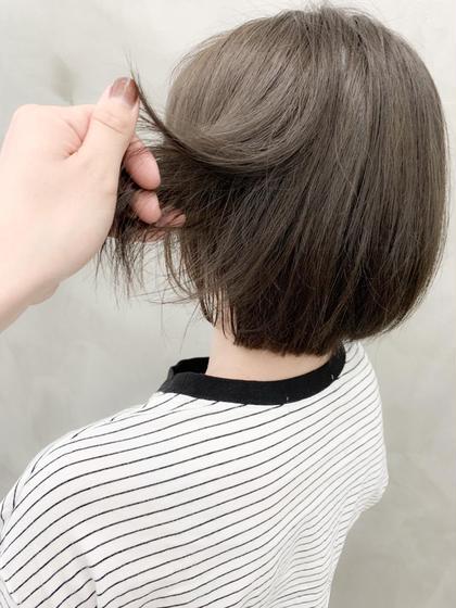 カラー ブリーチ毛にシアーベージュ^^ #シアーベージュ#ダブルカラー#ショート