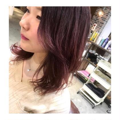 カラー セミロング semi  long style . color 【 pink red 💓】    濃いめのラベンダー からの、毛先にかけて 明るめのピンクレッドに💕     1色で染めるより、 可愛さと おしゃれさが 増します。💓    暖色、好きな方 おすすめです!!!