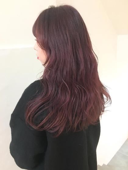 カラー ヘアアレンジ ロング berry pink