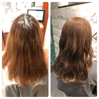 半年前にブリーチをされて根元と毛先がくっきり分かれてしまってるので根元だけブリーチさせていただきました! その上からカラーを入れてアッシュベージュに♪ La fith hair bambi所属・吉田剛のスタイル