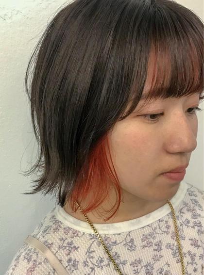 カラー  ▽バングインナーファニーオレンジ🍊🍊▽   バングともみあげにポイントでインナーカラー😊✨✨ 表面は透明感たっぷりの暗髪でコントラストをつけて◎  ※ビビット系のカラーは別途料金頂く可能性がございます!