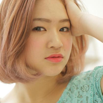 おすすめ【コース1】透き通るピンクカラーとぱつっとしたカットが可愛い♡ RAD心斎橋所属・心斎橋女性美容師トップスタイリストのスタイル