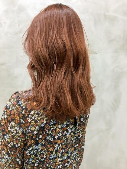 カラー マーマオレンジ🧡🧡 可愛い!!  一回のブリーチでできるお洒落カラー! 色落ちも綺麗です🌟  #ダブルカラー#ミディアム#ハイトーン