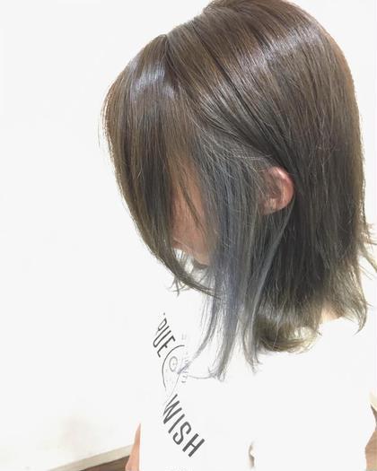 カラー ミディアム インナーカラー★ 内側の髪をブリーチ後アッシュシルバーに✨