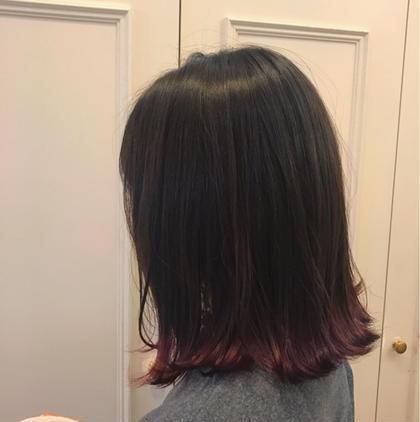 その他 カラー パーマ ヘアアレンジ ミディアム デザインカラー  #裾カラー  毛先ブリーチしてパープルをいれました