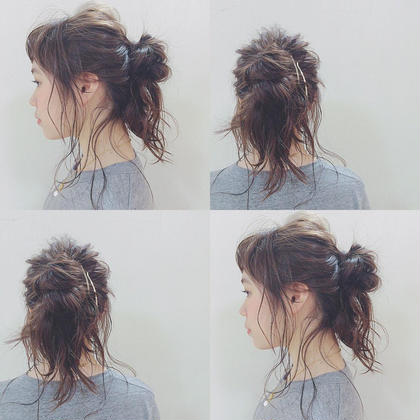 撮影モデルさんをarrange。 ルーズなお団子に、おくれ毛が、 可愛いstyle。浴衣にも似合うarrangeです! quarterresort所属・大谷奈々子のスタイル