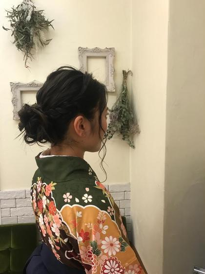 その他 カラー パーマ ヘアアレンジ ミディアム ヘアセット 卒業式 袴ヘア