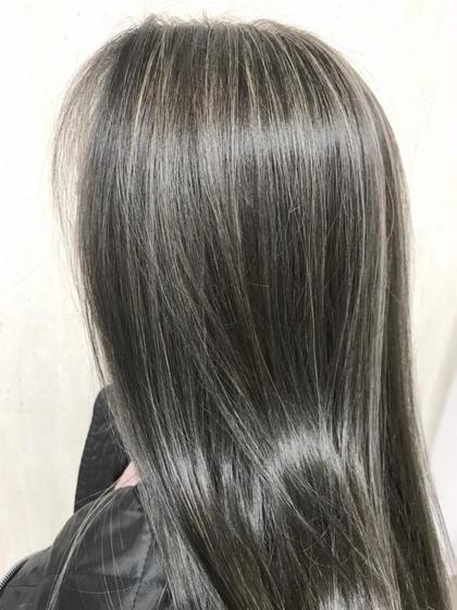 カラー ロング アッシュグレー☆3Dハイライト