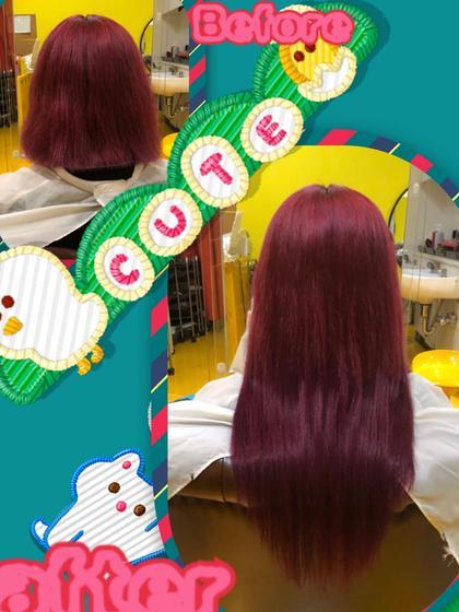 キュートで個性的なStyle♪  チェリーレッド系のお色でレミー編み込みエクステ65本での取付(^_-)-☆  可愛らしいお色で個性的でキュートなスタイルに(^。^)y-.。o○ DuoHair心斎橋店のロングのヘアスタイル