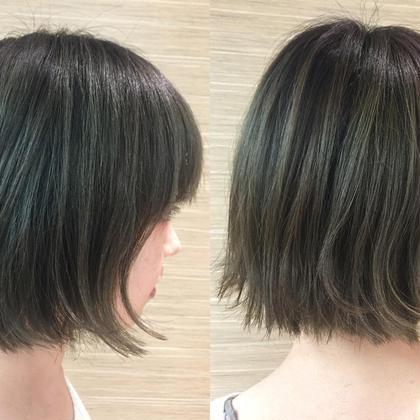 切りっぱなしボブ✂︎ カラーはブリーチをして透明感のあるオリーブ色に tiptop  吉祥寺所属・小野澤優香のスタイル