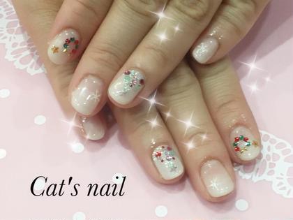 #グラデーション #クリスマス #リース #ツリー #雪のシール Cat's nail所属・原口芹香のフォト