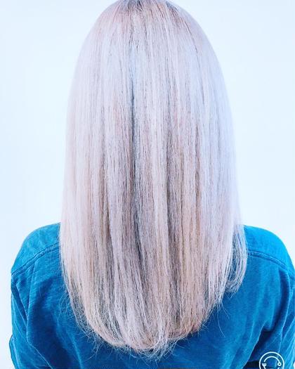 カラー ロング WHITE✖WHITE✖WHITE✖WHITE パープル を ON