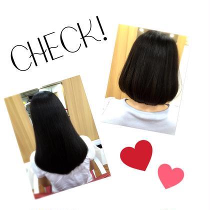 右上 動きが出やすいように表面に軽さを出したボブ(*^_^*)  左下 形をV型にしてシルエットを綺麗に!✨ 髪の毛の傷んでいるところだけ切り、 おさまりが良くなるようにしました!  TRYSTARacademy☆トライスターアカデミー所属・たかおかまりなのスタイル