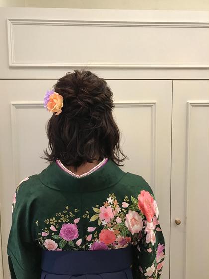 カラー パーマ ヘアアレンジ ミディアム 袴ヘアセット♡  #卒業式#卒業式ヘアセット#袴着付け