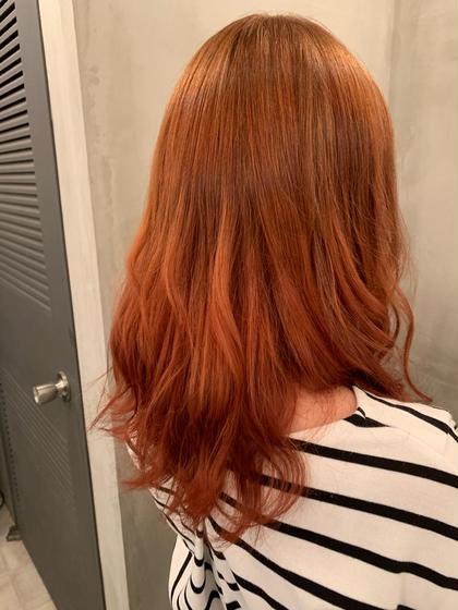 黒染め履歴のある髪からワンブリーチでオレンジを入れました🍊 AUBEHAIRcarnet【オーブヘアーカルネ】所属・小林ななのスタイル