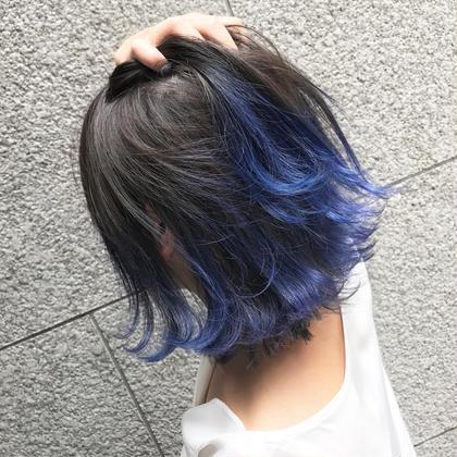 カラー ブルーのグラデーションカラー 可愛すぎます♡