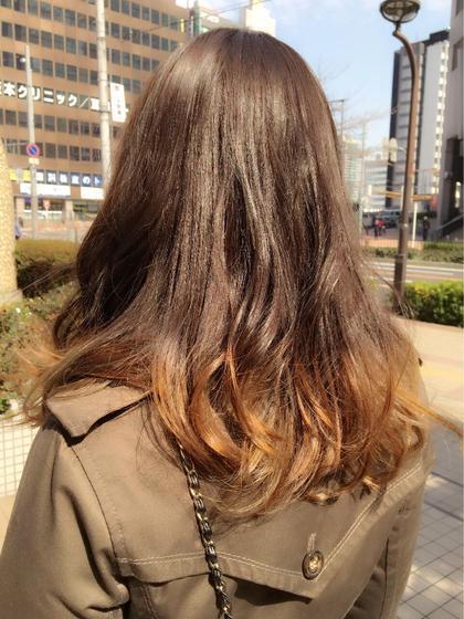 グラデーションカラー✨初めてのカラーでご来店!オシャレカラー❤️ 担当TOSHI MODE K's阿倍野店所属・高野耀子のスタイル