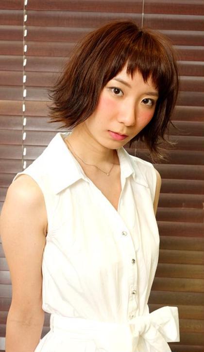 ショートバング+外ハネ風ボブ FACE。所属・太田エリヤのスタイル