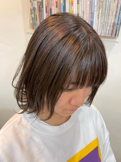 前髪カット+艶カラー+潤いトリートメント