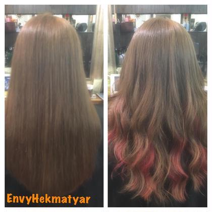 インナーカラーでカラーバターでピンクです!! 全体にブリーチをしてから表面は明るすぎず暗すぎずのアッシュブラウンに染めて中はカラーバターでピンクを入れました(★‿★) やっぱりピンクは女子色ですね!! EnvyHekmatyar所属・高橋かおりのスタイル