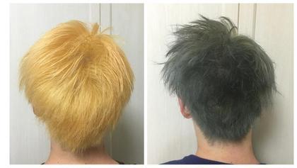 黒染めしかした事がない方に、トリプルカラー(二回ブリーチOnカラー)した時の写真です‼︎ 左がブリーチ二回、右がその後、乗せた色です‼︎ ダメージもほぼ少なく、綺麗にカラーできました‼︎ tiravento  泉ヶ丘店所属・上地優大(うえちゆうだい)のスタイル