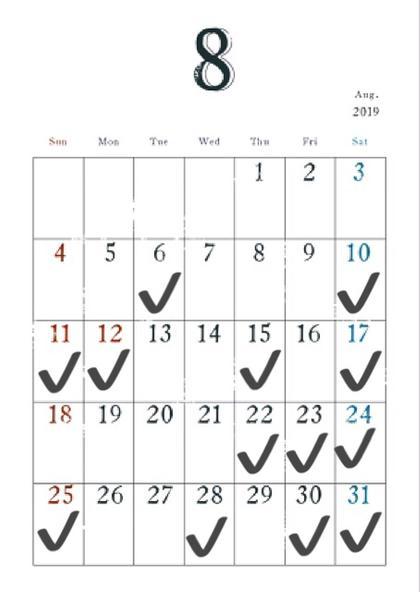 📆 8月のカレンダー ( 予約表 ) 📆  ✔️がついている日が予約可能な日にちです  🏝時間 19時 30 〜 🏝メニュー    白髪染め (根元だけ)     ¥1000                         白髪染め (毛先まで)     ¥2000
